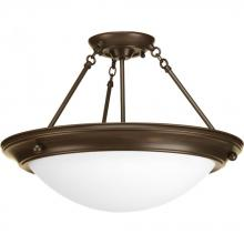 "Progress P7319-20WB - Eclipse Collection Three-Light 19-3/8"" Close-to-Ceiling"